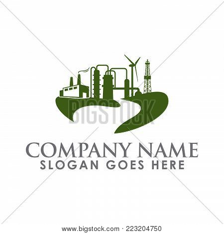 Plumbing factory or warehouse vector logo design. Plumbing logo vector template.