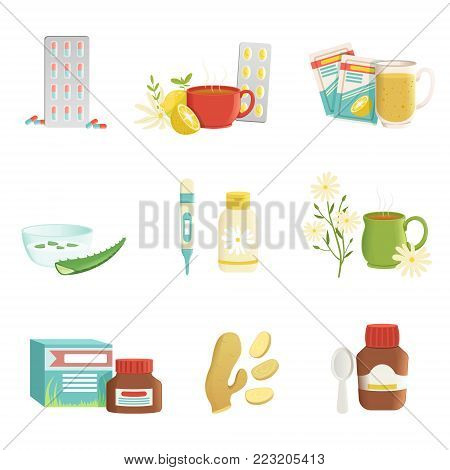 Icon set of cold and flu treatment objects. Tablets, tea with lemon and herbs, thermometer, ginger root, vitamins, aloe, syrup. Healthcare concept. Colorful flat vector illustration isolated on white.