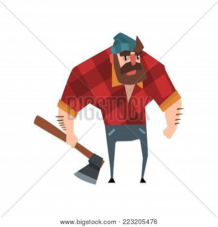 Vector illustration of strong bearded woodcutter character with axe in his hand. Cheerful lumberjack man wearing red checkered shirt, blue jeans and hat. Forest worker concept. Isolated flat design.