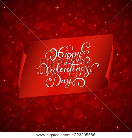 Holiday background with shiny hearts and red banner with lettering Happy Valentines Day, illustration.