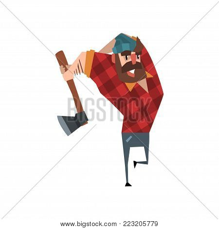 Strong woodcutter swinging an ax. Bearded lumberjack in flat style. Cartoon man character in red plaid shirt blue jeans and hat. Forest worker. Colorful vector design isolated on white background.