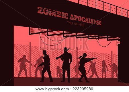 Poster Zombie apocalypse. Silhouettes of gunmans and dead peoples on bridge background. Video game: shooter. Horror thriller. Nightmare monsters. Vector ilustration