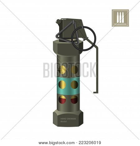 Hand smoke grenade of special forces. Detailed realistic image of anti-terrorist ammunition. Police explosive. Weapon icon. Military object. Vector illustration