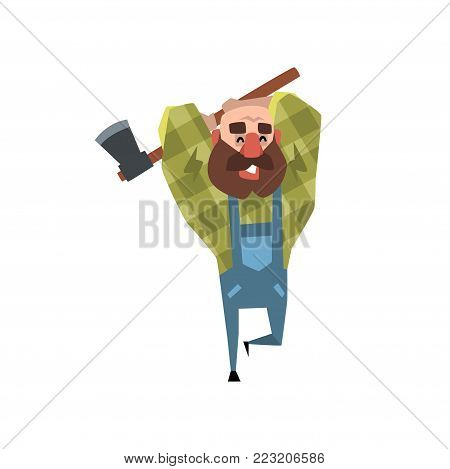 Happy bearded lumberjack working with axe. Cartoon bald man in green checkered shirt and blue coveralls. Funny woodcutter with big brown beard. Flat vector illustration isolated on white background.