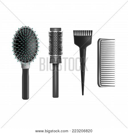 Realistic 3d Detailed Plastic Brush or Hairbrush Set for Care Hair and Hygiene. Vector illustration