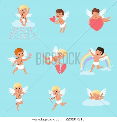 Set of little cupids in different actions. Cartoon characters of boys with white wings. Mythical archers. Angels of love. Flat design for greeting card or sticker. Vector illustration isolated on blue