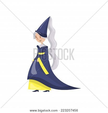 Maid of honor of the queen in a blue dress and pointed hat, fairytale or medieval character cartoon vector Illustration on a white background