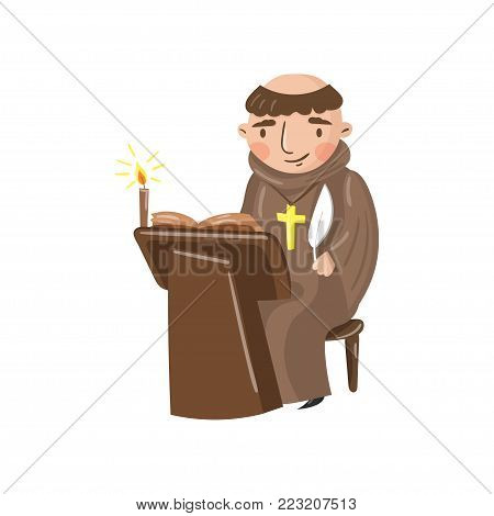Medieval monk scribe character writing a chronicle of contemporary events cartoon vector Illustration on a white background