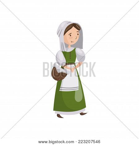 Medieval maid in traditional dress cartoon vector Illustration on a white background