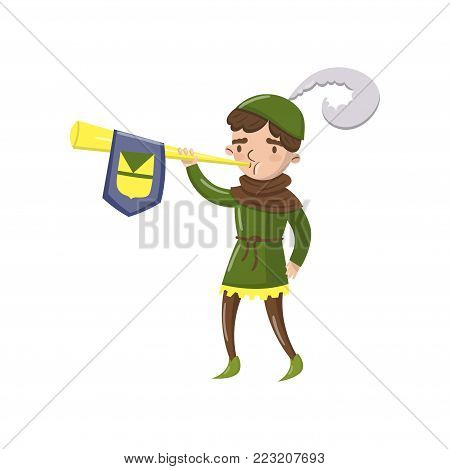 Royal herald with trumpet, fairytale or medieval character cartoon vector Illustration on a white background