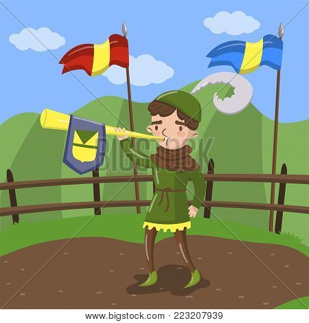 Royal herald with trumpet standing on summer landscape background vector Illustration in cartoon style