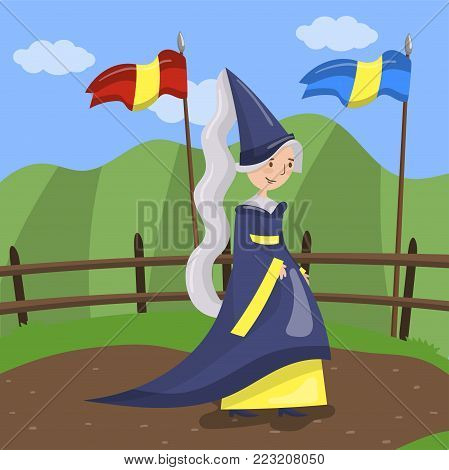 Maid of honor of the queen in a blue dress and pointed hat walking on summer landscape background vector Illustration in cartoon style