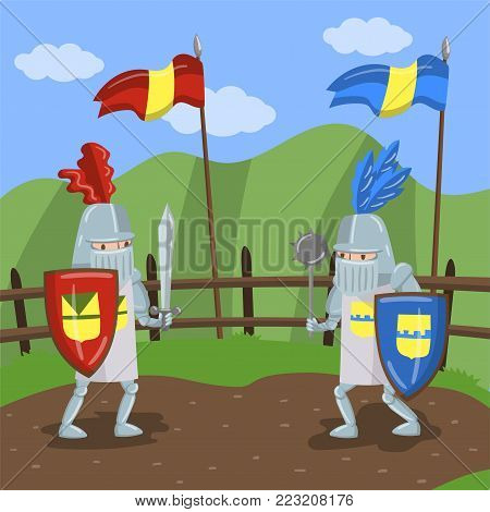 Medieval knits tournament, two amed knights jousting on summer landscape background vector Illustration in cartoon style
