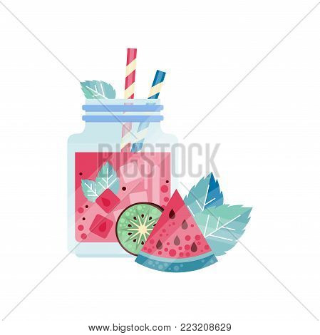 Glass jars with refreshing drink, ice cubes and drinking straws. Sweet juice with kiwi and watermelon. Refreshing vegetarian cocktail. Healthy beverage. Colorful flat vector design isolated on white.