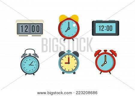 Alarm clock icon set. Flat set of alarm clock vector icons for web design isolated on white background