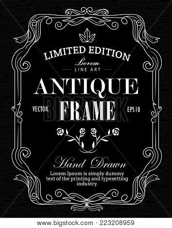 Antique Frame hand drawn label blackboard western vintage banner vector illustration