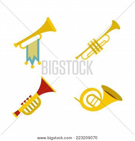 Trumpet icon set. Flat set of trumpet vector icons for web design isolated on white background