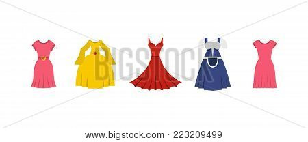 Dress icon set. Flat set of dress vector icons for web design isolated on white background