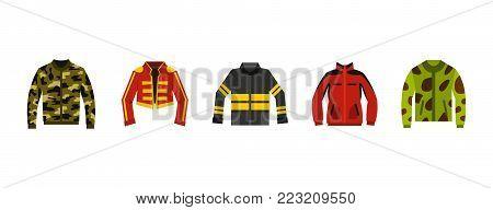 Jacket icon set. Flat set of jacket vector icons for web design isolated on white background