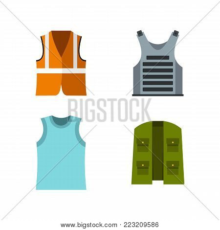 Vest icon set. Flat set of vest vector icons for web design isolated on white background