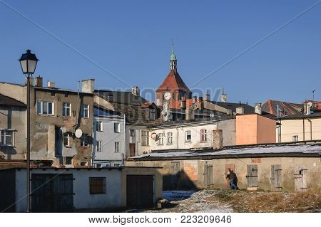 CITYSCAPE - Old town houses Darlowo from the back