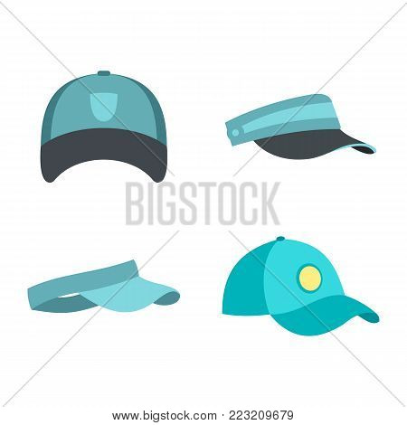 Baseball cap icon set. Flat set of baseball cap vector icons for web design isolated on white background