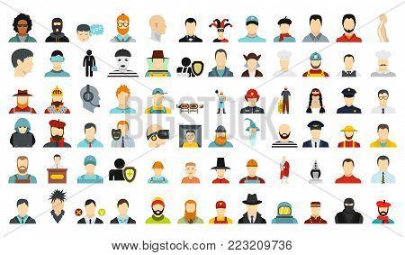 Man avatar icon set. Flat set of man avatar vector icons for web design isolated on white background