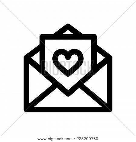 Love letter icon isolated on white background. Love letter icon modern symbol for graphic and web design. Love letter icon simple sign for logo, web, app, UI. Love letter icon flat vector illustration, EPS10.