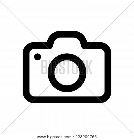 Photo camera icon isolated on white background. Photo camera icon modern symbol for graphic and web design. Photo camera icon simple sign for logo, web, app, UI. Photo camera icon flat vector illustration, EPS10.