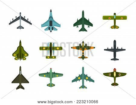 Air plane icon set. Flat set of air plane vector icons for web design isolated on white background