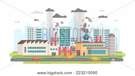 Cityscape with a factory - modern flat design style vector illustration on white background. A composition with a big plant making hazardous substances emissions with pipes. Air pollution concept