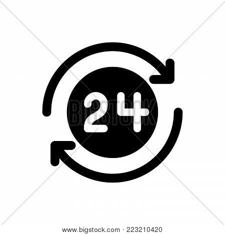 24 hours icon isolated on white background. 24 hours icon modern symbol for graphic and web design. 24 hours icon simple sign for logo, web, app, UI. 24 hours icon flat vector illustration, EPS10.