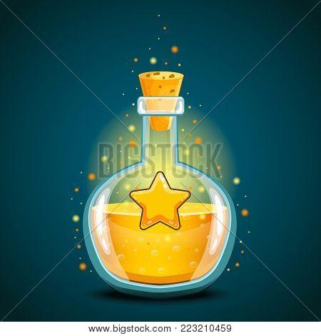 Bottle of magic elixir with star. Game design illustration