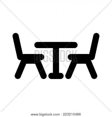 Table and chairs icon isolated on white background. Table and chairs icon modern symbol for graphic and web design. Table and chairs icon simple sign for logo, web, app, UI. Table and chairs icon flat vector illustration, EPS10.