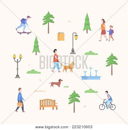 City park constructor - set of modern flat design style elements isolated on light background. Trees, lanterns, bench, people walking, skating, dog, walking girl, bin, cloud, lawn, fountain