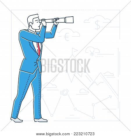 Future planning - line design style isolated illustration on white background with silhouettes of mountains, money, geo-tags. A businessman examining view with a field scope, setting his goals