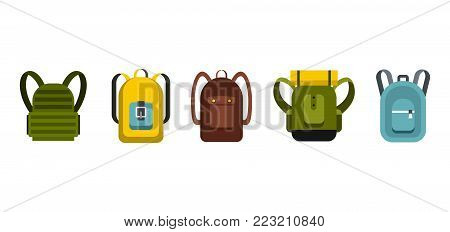 Backpack icon set. Flat set of backpack vector icons for web design isolated on white background