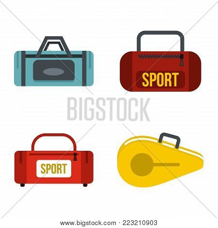 Sport bag icon set. Flat set of sport bag vector icons for web design isolated on white background