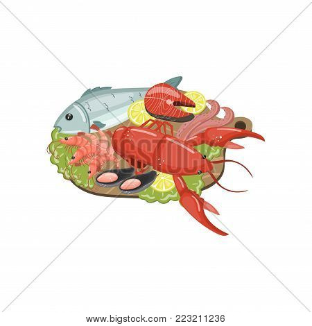 Seafood on plate, shrimp, lobster, shellfish, lobste, r oyster, mussel products cartoon vector Illustration on a white background