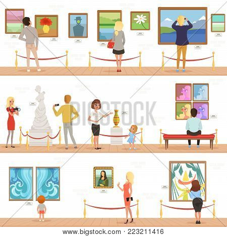 Cute cartoon visitors and guide characters in art museum. People admire paintings on the wall and sculptures in the gallery. Vertical flat banners, cultural activities concept. Vector illustration.