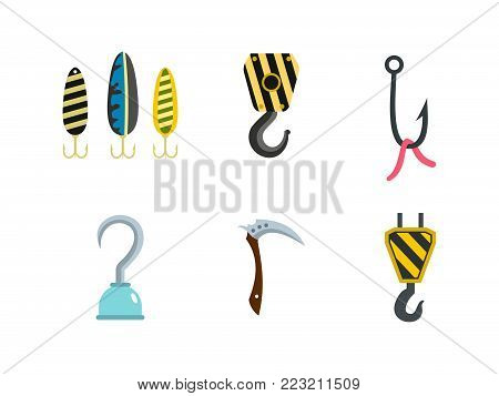 Hook icon set. Flat set of hook vector icons for web design isolated on white background