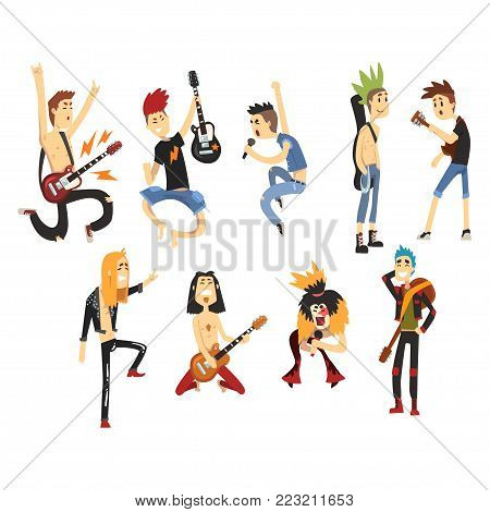 Cartoon rock artists characters singing and playing on musical instruments. Guys with colorful haircuts. Young musicians. Guitarists and singers. Music band concept. Isolated flat vector collection.
