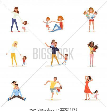 Set of tired parents with children. Exhausted moms and dads, playful boys and girls. Crazy day. Kids want to play. Reality of parenthood. Family concept. Colorful flat vector design isolated on white.