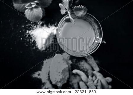 Tea  Of Turmeric,curcuma Longa,haldi, Ajwain,trachyspermum Ammi And Salt,sodium Chloride.