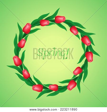 Wreath of tulips, floral frame on a green background