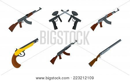 Rifle icon set. Flat set of rifle vector icons for web design isolated on white background