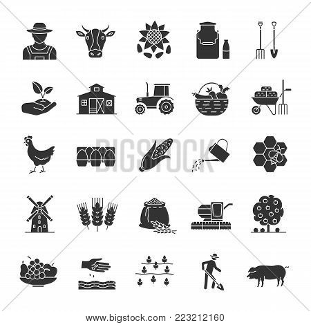 Agriculture glyph icons set. Farming. Agricultural implement. Silhouette symbols. Vector isolated illustration