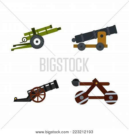Assault machine icon set. Flat set of assault machine vector icons for web design isolated on white background