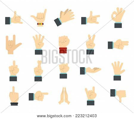Hand sign icon set. Flat set of hand sign vector icons for web design isolated on white background