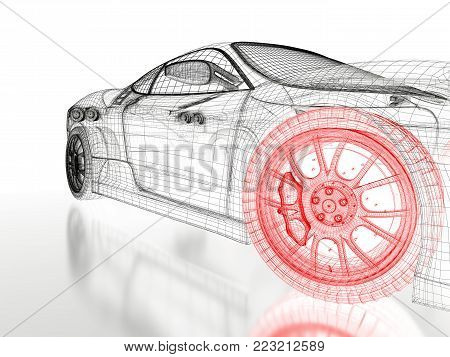 Car vehicle 3d blueprint mesh model image photo bigstock car vehicle 3d blueprint mesh model with a red wheel tire on a white background malvernweather Gallery